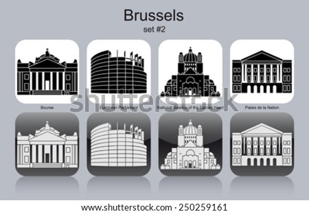 Landmarks of Brussels. Set of monochrome icons. Editable vector illustration. - stock vector