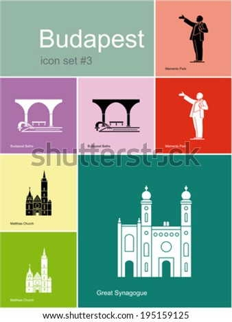 Landmarks of Budapest. Set of flat color icons in Metro style. Editable vector illustration. - stock vector