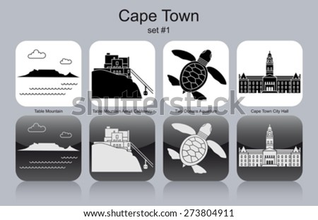 Landmarks of Cape Town. Set of monochrome icons. Editable vector illustration. - stock vector