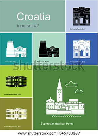 Landmarks of Croatia. Set of color icons in Metro style. Editable vector illustration. - stock vector