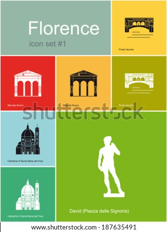 Landmarks of Florence. Set of flat color icons in Metro style. Editable vector illustration. - stock vector