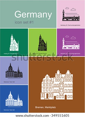 Landmarks of Germany. Set of color icons in Metro style. Editable vector illustration. - stock vector
