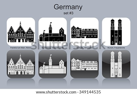 Landmarks of Germany. Set of monochrome icons. Editable vector illustration. - stock vector