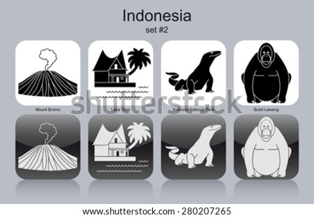 Landmarks of Indonesia. Set of monochrome icons. Editable vector illustration.