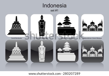 Landmarks of Indonesia. Set of monochrome icons. Editable vector illustration. - stock vector