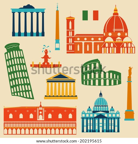 Landmarks of Italy, vector colorful geometric flat icons set - stock vector
