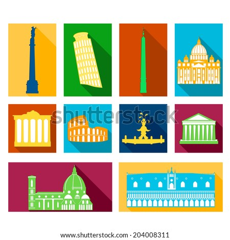 Landmarks of Italy, vector rectangular flat icons with long drop shadows - stock vector