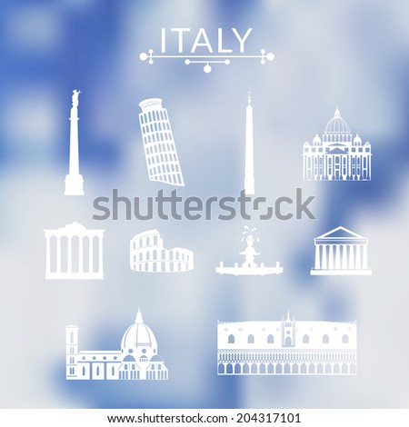 Landmarks of Italy, vector simple icons set on sky background - stock vector