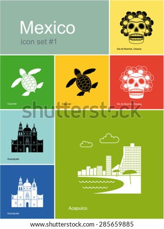 Landmarks of Mexico. Set of color icons in Metro style. Editable vector illustration. - stock vector