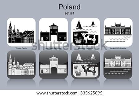 Landmarks of Poland. Set of monochrome icons. Editable vector illustration. - stock vector