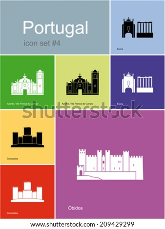 Landmarks of Portugal. Set of color icons in Metro style. Editable vector illustration. - stock vector