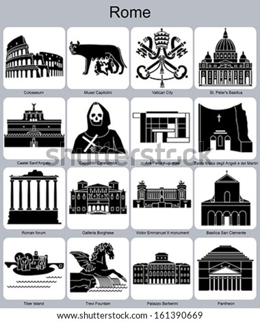 Landmarks of Rome. Set of monochrome icons. Editable vector illustration. - stock vector
