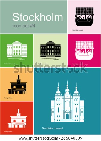 Landmarks of Stockholm. Set of color icons in Metro style. Editable vector illustration. - stock vector