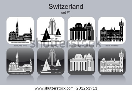 Landmarks of Switzerland. Set of monochrome icons. Editable vector illustration. - stock vector