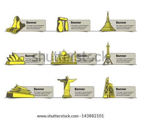 landmarks of the world - stock vector