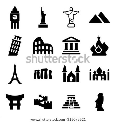 Landmarks Of The World Icons - stock vector