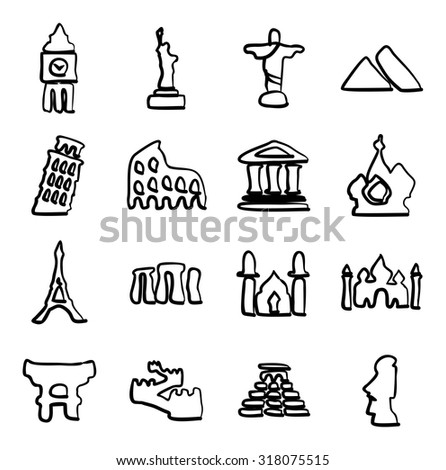 Landmarks Of The World Icons Freehand - stock vector