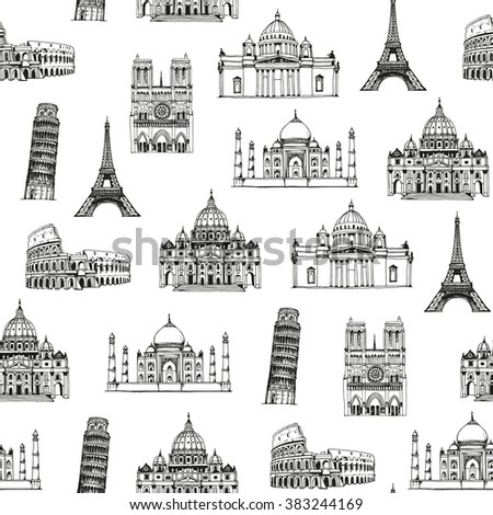 Landmarks of the world vector pattern, seamless background with hand drawn attractions of the world - stock vector