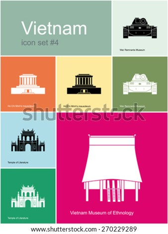 Landmarks of Vietnam. Set of color icons in Metro style. Editable vector illustration. - stock vector