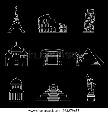 Landmarks thin line icons - stock vector