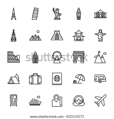 Landmarks, travel. Set of vector icons. Outline style