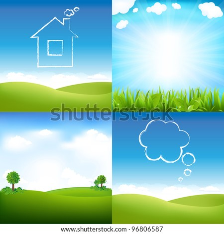 Landscape And Sky, Vector Illustration - stock vector