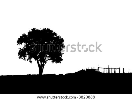 Landscape and tree silhouette (vector, illustration, background ) - stock vector