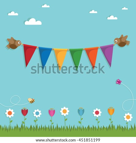 landscape background decoration with birds holding bunting ornament