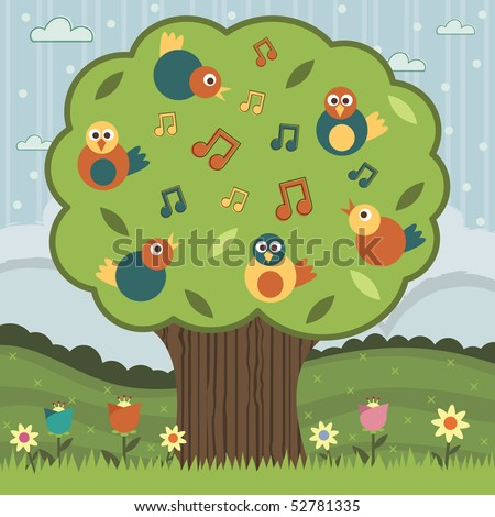 landscape background with big tree and song birds