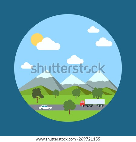 Landscape background with car and truck on the road. Flat design style illustration. - stock vector