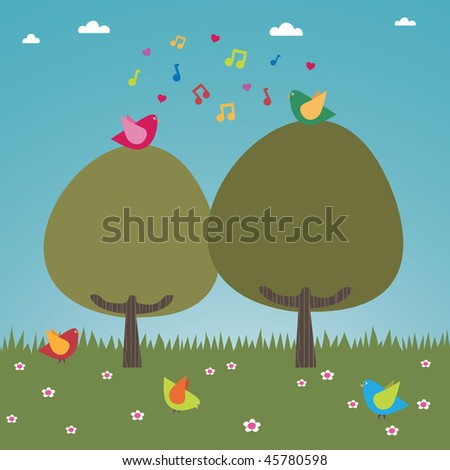landscape background with happy birds singing in the trees