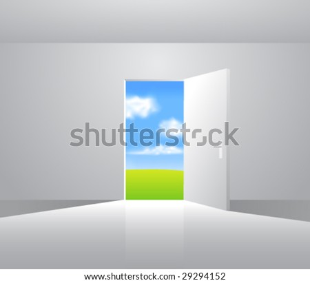 Landscape behind the door. Vector. Change the background as you wish. - stock vector