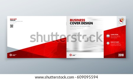 Landscape Brochure Design Red Corporate Business Stock Vector