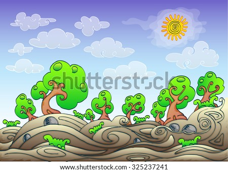 landscape cartoon hand draw illustration with sunny sky and clouds, in swirl style - stock vector