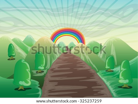 landscape cartoon with mountain, trees, ans straight road to the rainbow horizon - stock vector