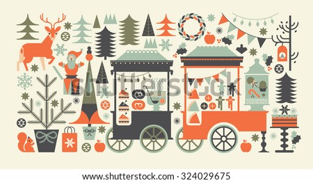 Landscape composition with Christmas market, street food carts, festive food and holiday symbols.