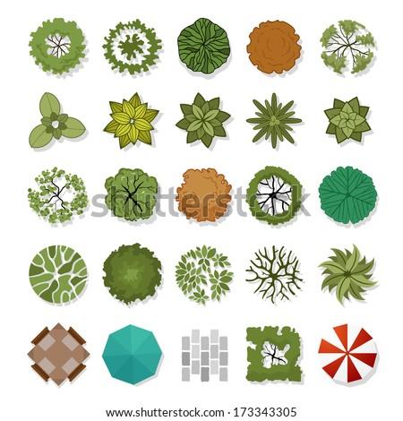 landscape design elements vector illustration - stock vector