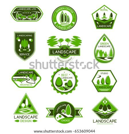 Landscape Design Isolated Badge Set Park And Garden Architecture Studio Gardening Center Emblem