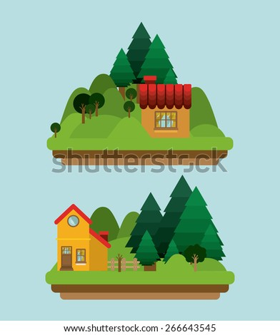 Landscape design over blue background, vector illustration - stock vector