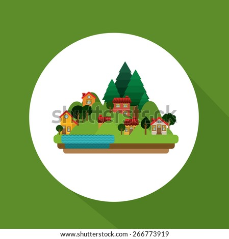 Landscape design over green background, vector illustration - stock vector
