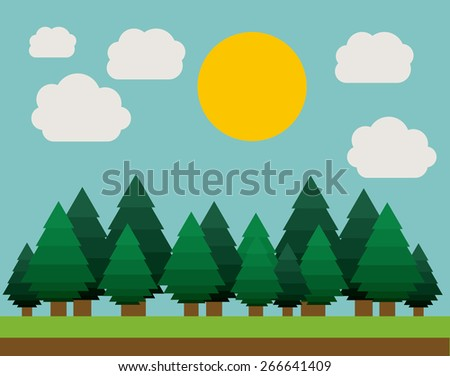 Landscape design over sky background, vector illustration - stock vector