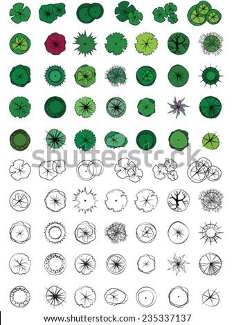 Landscape Design Symbols Trees Top View Stock Vector 235337137