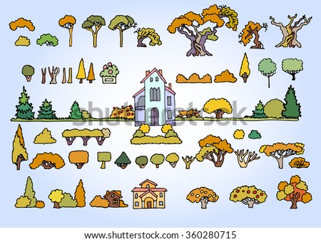 Landscape elements vector set.Hand drawn isolated sketchy trees, flowers, bushes and houses.Colors doodle set of cartoon houses and trees.Tree and house illustration, countryside,summer,autumn - stock vector