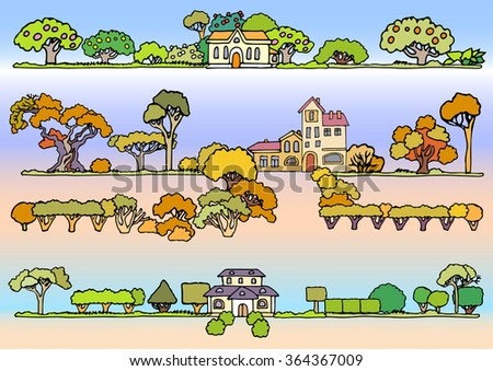 Landscape elements vector set.Hand drawn isolated sketchy trees,flowers,bushes and houses.Colors doodle set of cartoon houses and trees.Tree and house illustration, countryside,spring,summer,autumn - stock vector