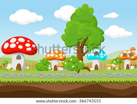 Landscape for game.Background  for game.  Seamless cartoon landscape. vector unending background.