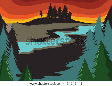 Landscape. Forest Landscape with sunset, sunrise on the horizon. Coniferous forest. Flat style illustration - stock vector