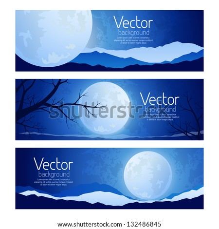 Landscape full moon in the sky - stock vector