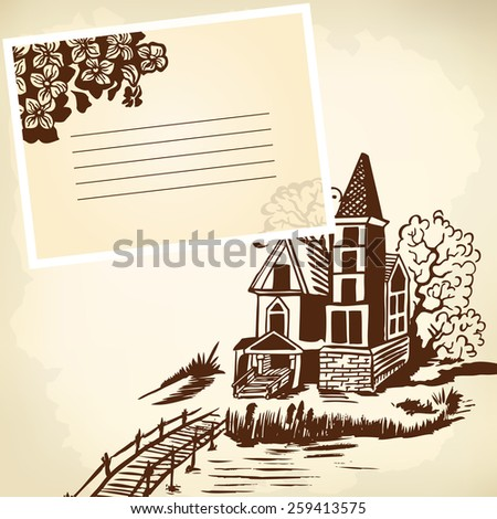 Landscape - house by the river. Wooden bridge. Monochrome drawing. - stock vector