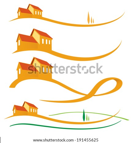 LANDSCAPE HOUSE SET ON WHITE BACKGROUND - stock vector