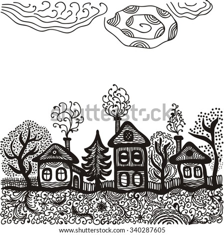 Landscape houses trees vector illustration - stock vector